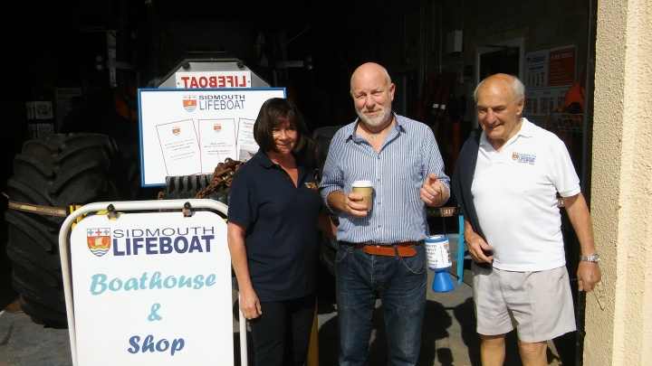 phil weaver with sidmouth lifeboat collection box