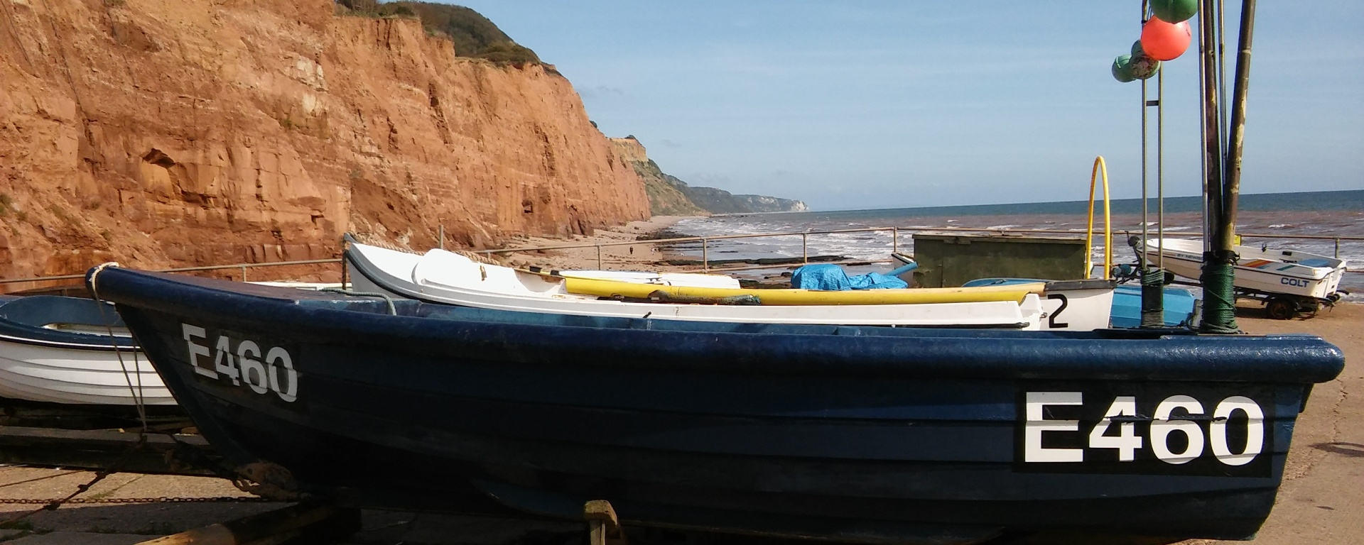 sidmouth fishing boat cliffs